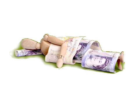 Wooden doll with money